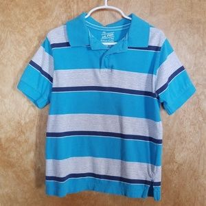 Blue and White striped Polo